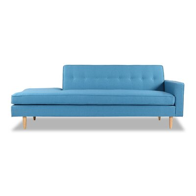 Mickey Mid-Century Chaise Lounge  Upholstery: Urban Surf Twill, Leg Color: Cream