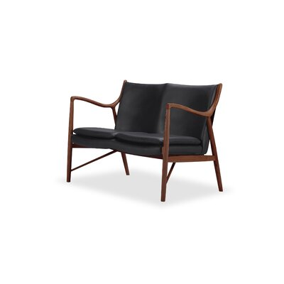 Rashad Mid-Century Modern Leather Loveseat Upholstery: Black, Leg Finish: Walnut