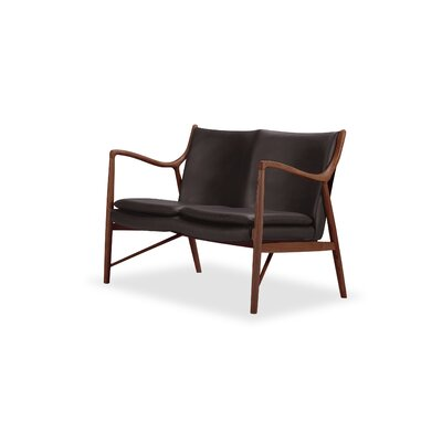 Rashad Mid-Century Modern Leather Loveseat Upholstery: Brown, Leg Finish: Walnut