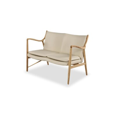 Rashad Mid-Century Modern Leather Loveseat Upholstery: Cream, Leg Finish: Natural