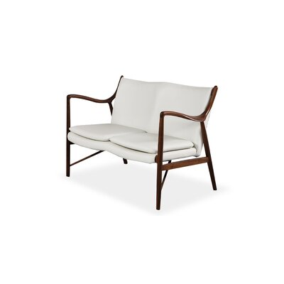 Rashad Mid-Century Modern Leather Loveseat Upholstery: White, Leg Finish: Walnut
