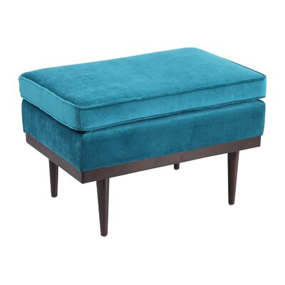 Agustin Midcentury Modern Ottoman Upholstery: Poseidon Velvet