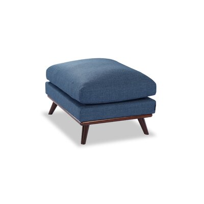 Luther Mid-Century Modern Ottoman Upholstery: Blue Curacao Twill