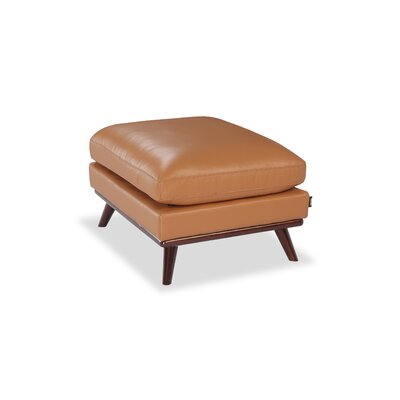 Luther Mid-Century Modern Ottoman Upholstery: Saddle Aniline Leather