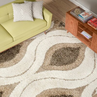 Fulton Cream/Smoke Gray Shag Area Rug Rug Size: Rectangle 4 x 6