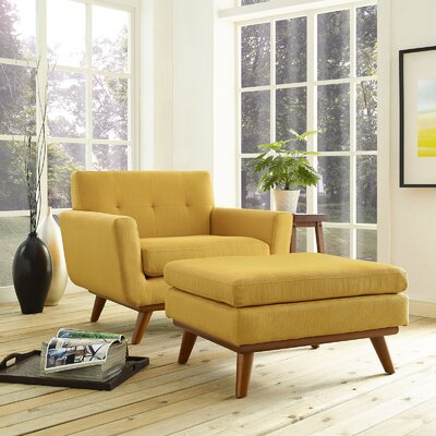 Saginaw Armchair and Ottoman Upholstery: Citrus