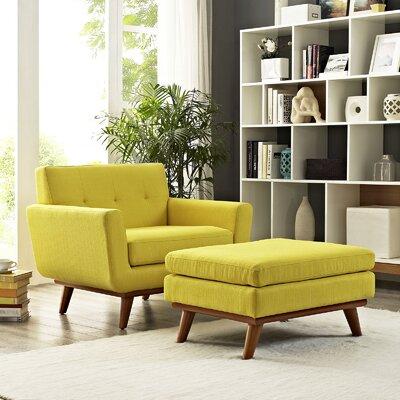 Johnston Armchair and Ottoman Upholstery: Sunny