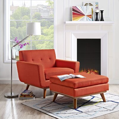 Johnston Armchair and Ottoman Upholstery: Atomic Red