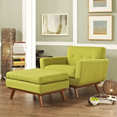 Johnston Armchair and Ottoman Upholstery: Wheatgrass