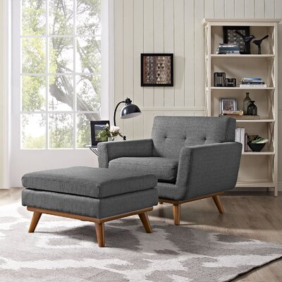 Saginaw Armchair and Ottoman Upholstery: Gray