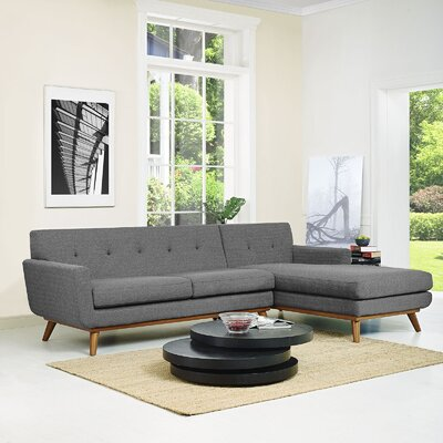Johnston Sectional Upholstery: Gray, Orientation: Right Hand Facing