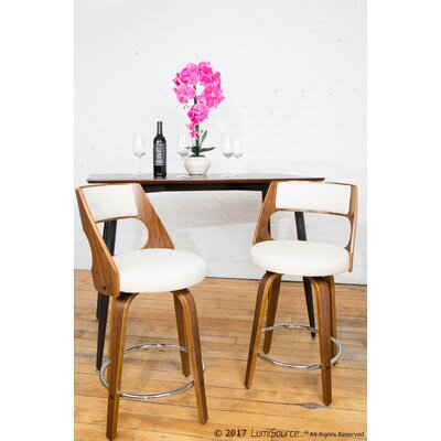 Adelyn 24.5 Swivel Bar Stool Upholstery: Cream