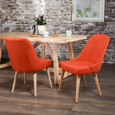 Kailyn Upholstered Dining Chair Upholstery Color: Orange