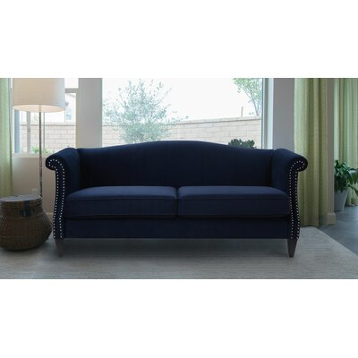 Clevenger Camel Back Sofa Upholstery: Dark Navy Blue