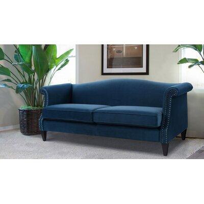 Clevenger Camel Back Sofa Upholstery: Satin Teal