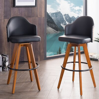 Bononia 29.72 Swivel Bar Stool Color: Black