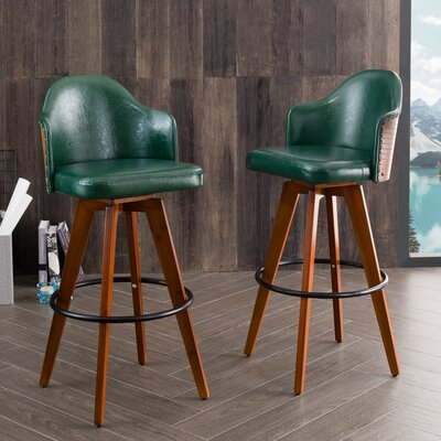 Bononia 29.72 Swivel Bar Stool Color: Green
