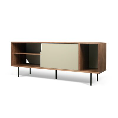 Garry 65 TV Stand Color: Walnut Frame/Pure White/Gray Doors/BlackSteel Feet