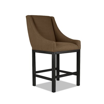 Moss 26 Bar Stool Finish: Dry Gray, Upholstery: White