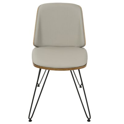 Calline Creek Mid-Century Modern Upholstered Dining Chair Upholstery Color: Faux Leather Gray
