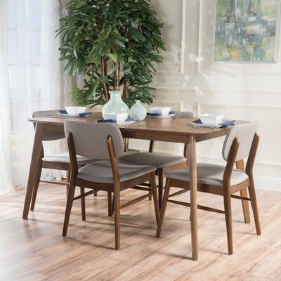 Drumadried 5 Piece Dining Set Chair Color: Beige Gray/Brown