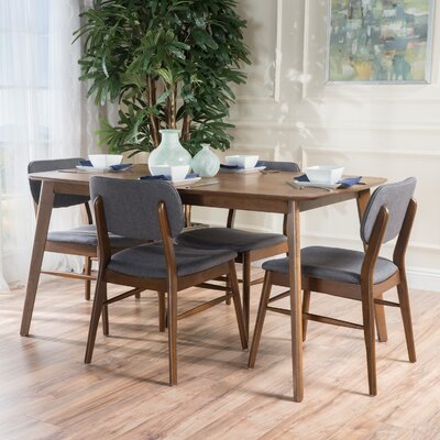 Drumadried 5 Piece Dining Set Chair Color: Charcoal/Brown