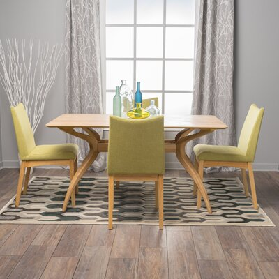 Aliso 5 Piece Dining Set Chair Color: Green Tea, Finish: Oak