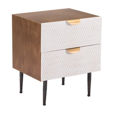 Kristy Honeycomb End Table with Storage