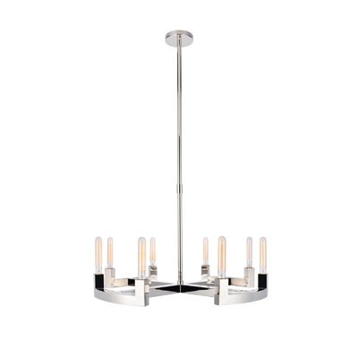 Donnell 8-Light Candle-Style Chandelier Finish: Polished Nickel, Size: 51 H x 32 W x 32 D