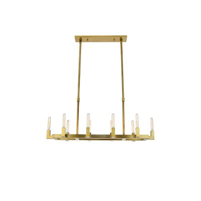 Donnell 10-Light Kitchen Island Pendant Finish: Burnished Brass
