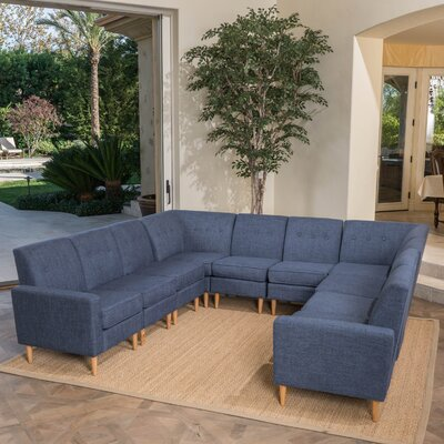 Snowden U-Shaped Modular Sectional Upholstery: Dark Blue