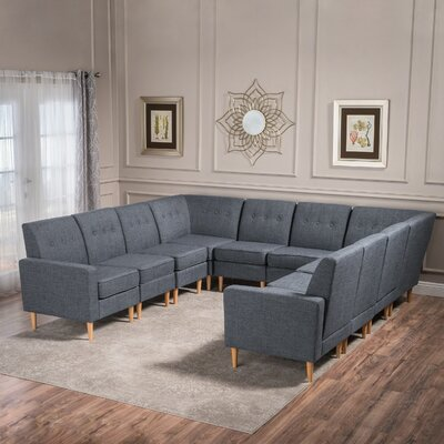 Snowden U-Shaped Modular Sectional Upholstery: Gray