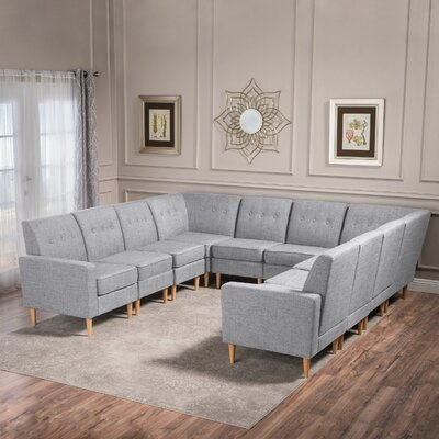 Snowden U-Shaped Modular Sectional Upholstery: Light Gray