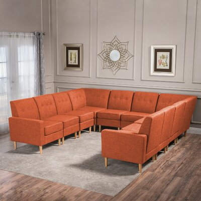 Snowden U-Shaped Modular Sectional Upholstery: Muted Orange Red