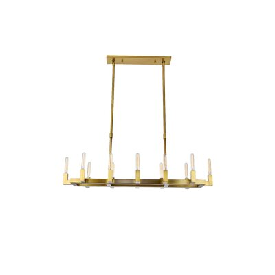 Donnell 12-Light LED Kitchen Island Pendant Finish: Burnished Brass