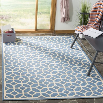 Cosper Blue/Cream Area Rug Rug Size: Rectangle 8 x 10