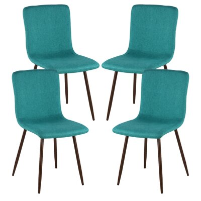 Amir Upholstered Dining Chair Upholstery Color: Green, Leg Color: Walnut