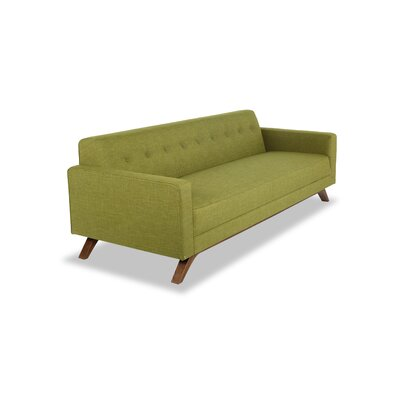 Matt Mid-Century Modern Sofa Upholstery: Atomic Moss Twill, Leg Color: Brown