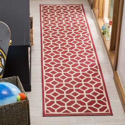 Didmarton Red/Creme Area Rug Rug Size: Runner 2 x 8