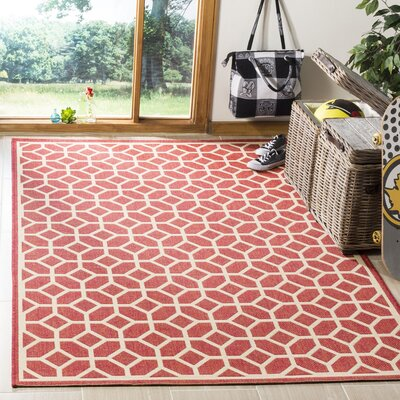 Didmarton Red/Creme Area Rug Rug Size: Rectangle 4 x 6