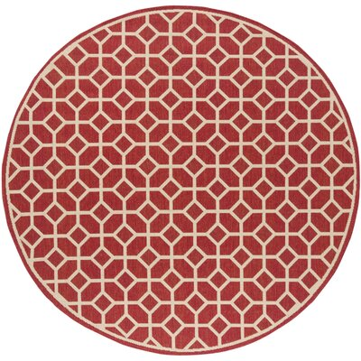 Didmarton Red/Creme Area Rug Rug Size: Round 67