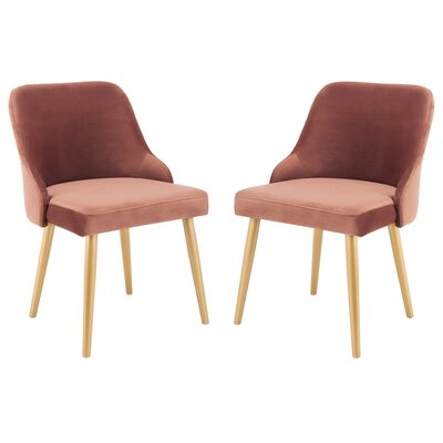 Dinwiddie Lulu Upholstered Dining Chair Finish: Dusty Rose/Gold
