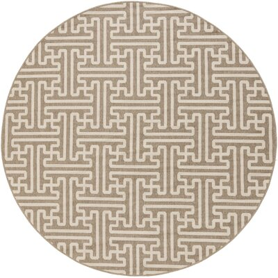 Delaney Camel / Cream Outdoor Area Rug Rug Size: Round 73