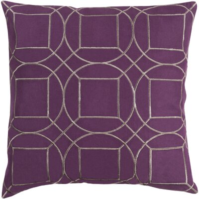 Lambda Square Linen Throw Pillow Size: 18 H x 18 W x 4 D, Color: Eggplant