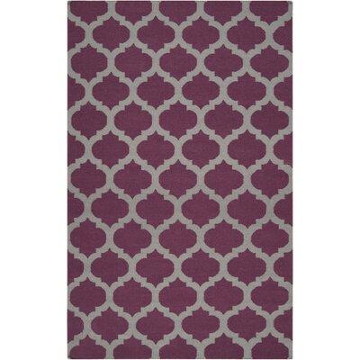 Carlton Hand-Woven Raspberry Wine/Gray Area Rug Rug Size: 9 x 13