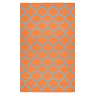 Hackbarth Pumpkin/Flint Gray Area Rug Rug Size: 36 x 56