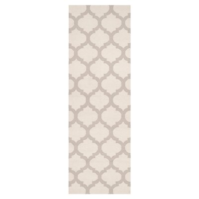 Hackbarth Oatmeal/White Area Rug Rug Size: Runner 26 x 8