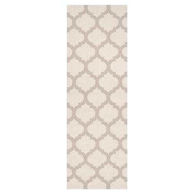 Ash Oatmeal/White Area Rug Rug Size: Runner 26 x 8