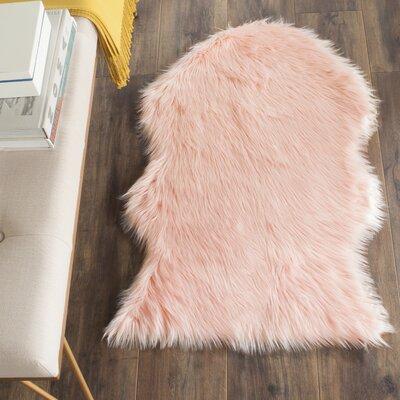 Faux Sheep Skin Pink Area Rug Rug Size: 2' x 3'