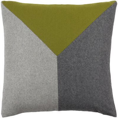 Estaban Wool Throw Pillow Size: 18 H x 18 W x 4 D, Color: Lime/Gray/Light Gray